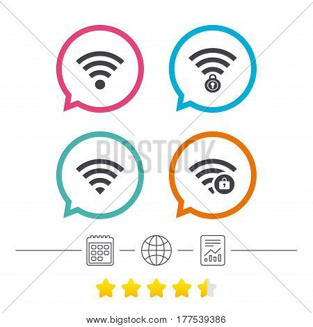 Wifi Wireless Network icons. Wi-fi zone locked symbols. Password protected Wi-fi sign. Calendar, internet globe and report linear icons. Star vote ranking. Vector