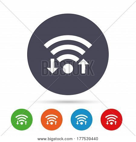 Wifi signal sign. Wi-fi upload, download symbol. Wireless Network icon. Internet zone. Round colourful buttons with flat icons. Vector
