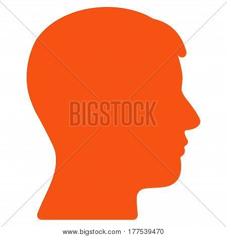 Man Head Profile vector icon. Flat orange symbol. Pictogram is isolated on a white background. Designed for web and software interfaces.