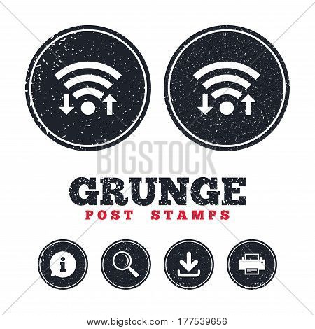Grunge post stamps. Wifi signal sign. Wi-fi upload, download symbol. Wireless Network icon. Internet zone. Information, download and printer signs. Aged texture web buttons. Vector