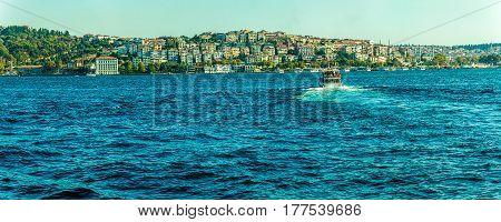Panorama of the Istanbul sailing Bosphorus, Turkey