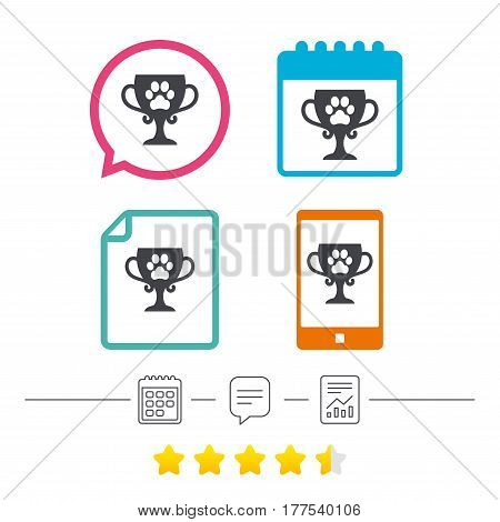 Winner pets cup sign icon. Trophy for pets. Calendar, chat speech bubble and report linear icons. Star vote ranking. Vector