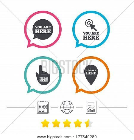 You are here icons. Info speech bubble symbol. Map pointer with your location sign. Hand cursor. Calendar, internet globe and report linear icons. Star vote ranking. Vector