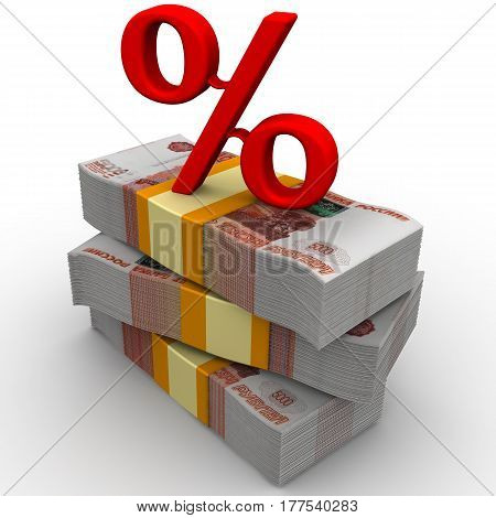 Percentage rate. Packs of Russian rubles tied with tapes on a white surface with a red percent sign on them. Isolated. 3D Illustration