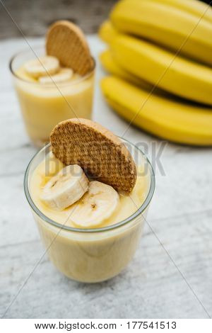 Banana Mousse With Biscuits On White Wooden Board For Breakfast, Healthy Vegetarian Dessert