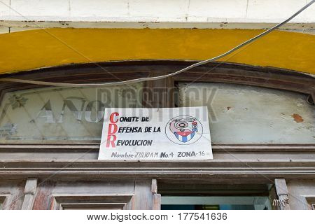 Havana, Cuba - January 7 2017: Revolutionary propaganda CDR sign representing the Committee for the Defense of the Revolution in Havana Cuba.