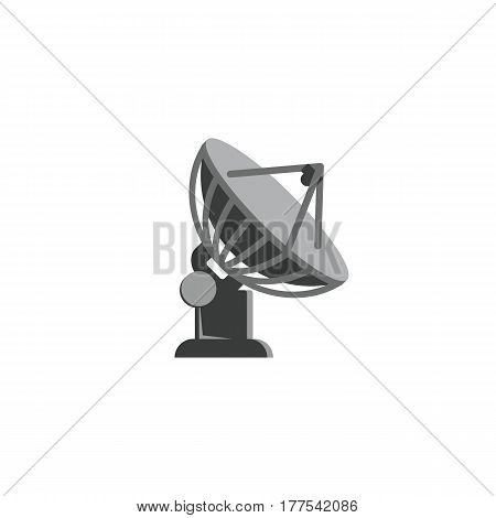 Satellite antenna icon on white background. Radio telescope flat style illustration.