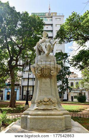 Havana, Cuba - January 7 2017: Monument to Miguel de Cervantes in Havana Cuba.