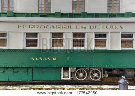 Havana, Cuba - January 7 2017: Coche Mambi - Train car of the Cuban Railroad Company and beginning in 1902 was used by Cuban presidents on their campaigns and for official visits.