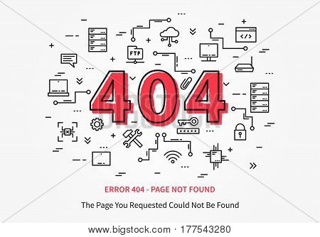Error 404 page with datacenter server elements vector illustration. Broken web page graphic design. Error 404 page not found creative template.