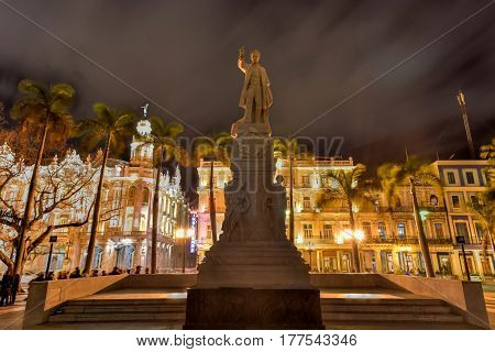 Havana, Cuba - January 7 2017: The Central Park of Havana with the Jose Marti Monument.