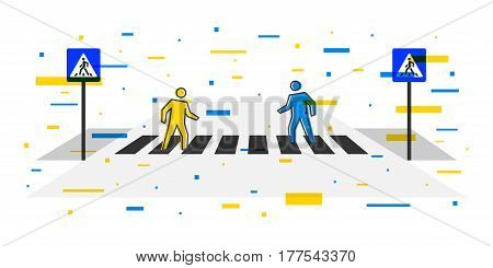 Pedestrian crossing vector illustration with decorative elements. Crosswalk with pedestrians and road signs creative concept. People crossing zebra graphic design.