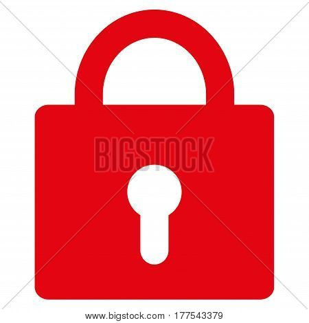 Lock vector icon. Flat red symbol. Pictogram is isolated on a white background. Designed for web and software interfaces.