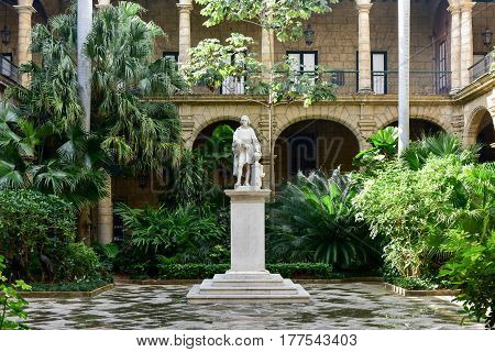 Havana, Cuba - January 7 2017: Palacio de los Capitanes Generales on Plaza de Armas square in Havana Vieja. It is the former official residence of the governors (Captains General) of Havana Cuba.