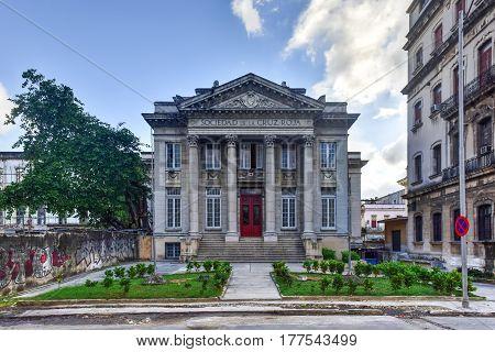 Havana Cuba - January 7 2017: Society of the Red Cross building in Old Havana Cuba.
