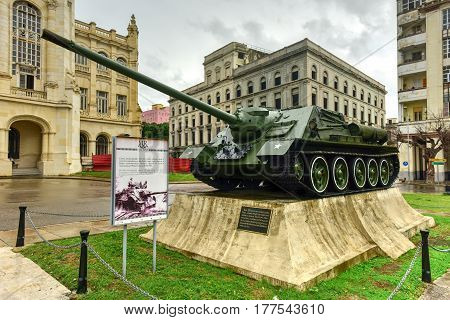 Havana Cuba - January 7 2017: Soviet tank in front of the Museum of the Revolution in Havana. The palace was the headquarters of the Cuban government for 40 years.