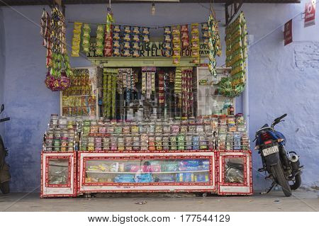 PUSHKAR INDIA-OCT 29 : shopfront of indian style grocery in Pushkar on october29 2014 india