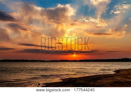 A beautiful sunset over a lake in Oklahoma.
