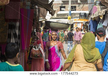 PUSHKAR INDIA-OCT 29 : working Unidentified indian outcast person in marketplace of Pushkar on october29 2014 india