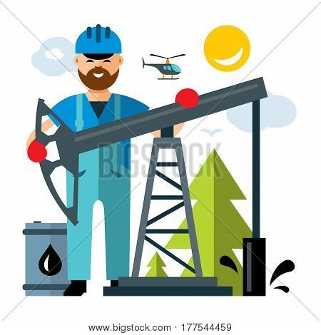 Driller and oil drilling rig. Isolated on a white background