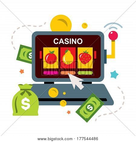 Laptop slot machine with money. Isolated on a white background