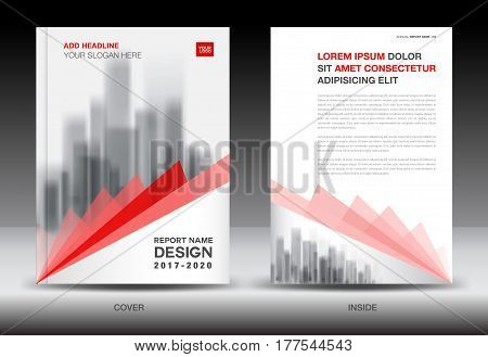 Annual report brochure flyer template Red cover design business book booklet newspaper polygon background