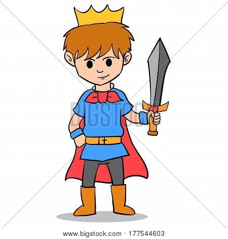 The king boy character style vector illustration