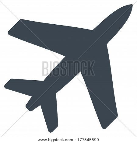 Airplane vector icon. Flat smooth blue symbol. Pictogram is isolated on a white background. Designed for web and software interfaces.