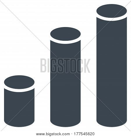 Bar Chart Cylinders vector icon. Flat smooth blue symbol. Pictogram is isolated on a white background. Designed for web and software interfaces.