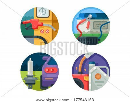 Filling machine set icons. Charge battery, pour gasoline into canister. Vector illustration. Pixel perfect icons size - 128 px