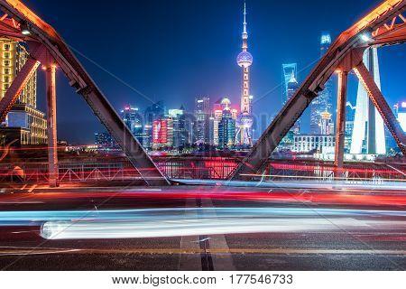 Nightview of the Waibaidu Bridge in ShanghaiChina.