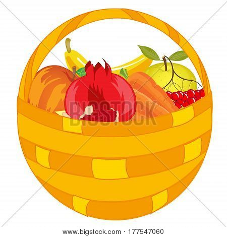 Braided basket with fruit and vegetable on white background