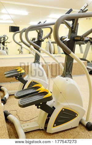 Fitness hall with fitness bicicles