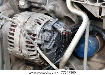 Car electric generator close up