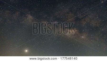 Milky Way Galaxy With Stars And Space Dust In The Universe, Long Exposure Photograph. With Grain.