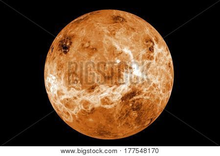 Highly detailed venus planet on black. Elements of this image furnished by NASA