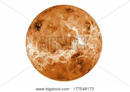Highly detailed venus planet on isolated white. Elements of this image furnished by NASA