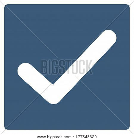Valid Tick vector icon. Flat blue symbol. Pictogram is isolated on a white background. Designed for web and software interfaces.