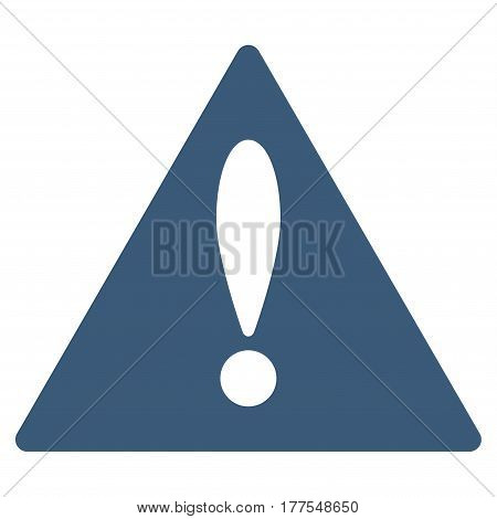 Warning vector icon. Flat blue symbol. Pictogram is isolated on a white background. Designed for web and software interfaces.