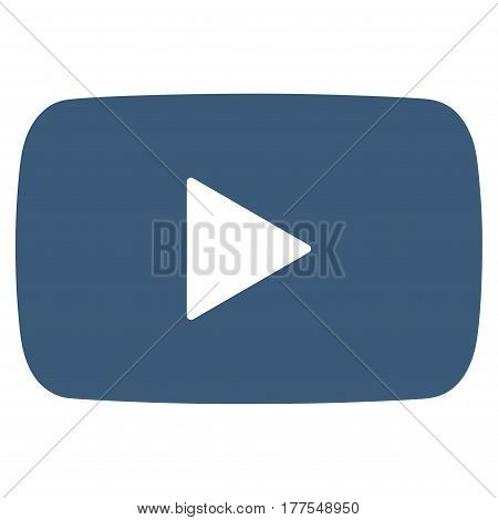 Play Video vector icon. Flat blue symbol. Pictogram is isolated on a white background. Designed for web and software interfaces.