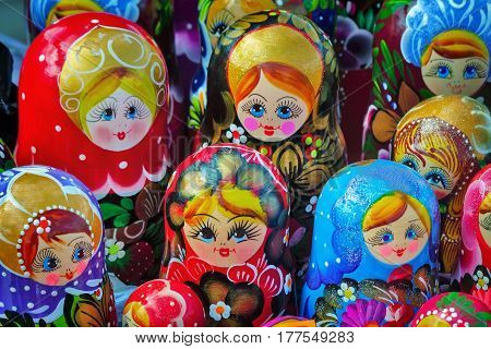 Made of a tree and beautifully painted dolls - the nested dolls traditional Russian toys for children.