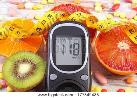 Glucose Meter With Result, Centimeter, Fruits And Medical Pills, Diabetes, Slimming, Healthy Lifesty