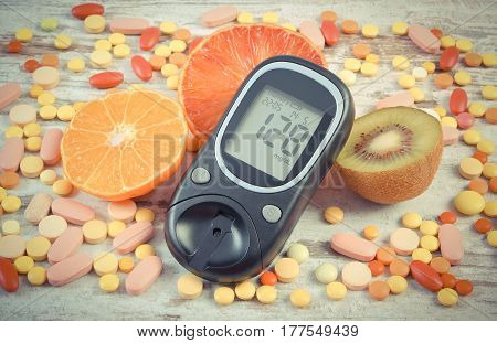 Vintage Photo, Glucometer With Result, Fruits And Colorful Medical Pills, Diabetes, Healthy Lifestyl