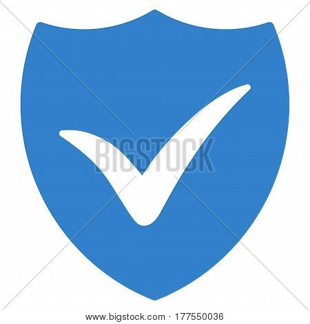 Shield Valid vector icon. Flat cobalt symbol. Pictogram is isolated on a white background. Designed for web and software interfaces.