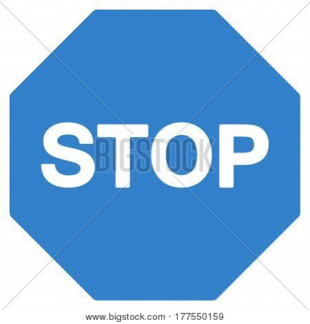 Stop Sign vector icon. Flat cobalt symbol. Pictogram is isolated on a white background. Designed for web and software interfaces.