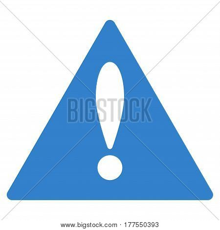 Warning vector icon. Flat cobalt symbol. Pictogram is isolated on a white background. Designed for web and software interfaces.