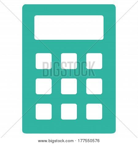 Calculator vector icon. Flat cyan symbol. Pictogram is isolated on a white background. Designed for web and software interfaces.
