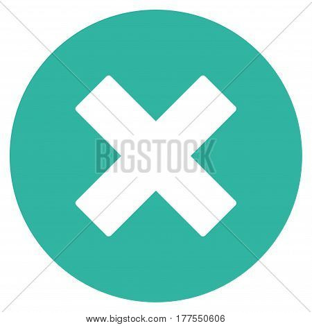 Cancel vector icon. Flat cyan symbol. Pictogram is isolated on a white background. Designed for web and software interfaces.