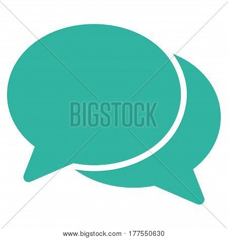 Chat vector icon. Flat cyan symbol. Pictogram is isolated on a white background. Designed for web and software interfaces.