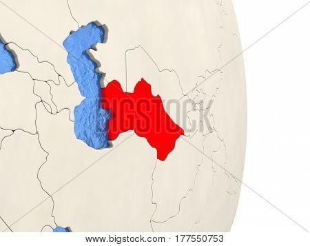 Turkmenistan On Model Of Political Globe